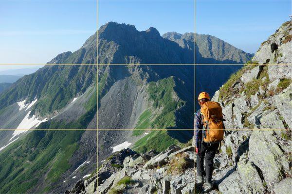 写真の基本構図 好みの山岳写真は三分割法より外側配置
